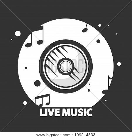 Live music black and white logotype with vinyl record and notes isolated cartoon vector illustration. Retro device for musical compositions storage. Place with natural sound promotional logotype