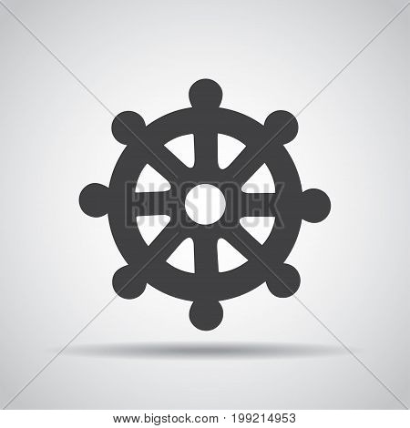 Wheel of Dharma icon with shadow on a gray background. Vector illustration
