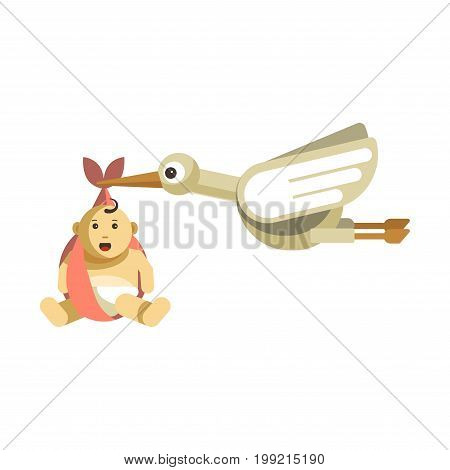 Funny stork with big eyes carries cute baby with open mouth in pink cloth isolated vector illustration on white background. Symbolic picture of childbirth. Big bird flies with plump kid in beak.