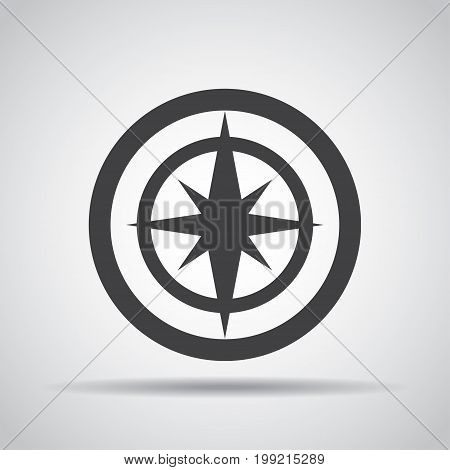 Navigation icon with shadow on a gray background. Vector illustration