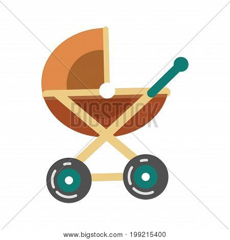 Baby transport pram in brown color, stroller icon vector illustration isolated on white. Transportation carriage for newborn children, cradle in flat design, cartoon transportation item icon