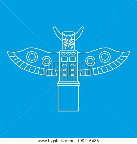 Totem pole icon blue outline style isolated vector illustration. Thin line sign