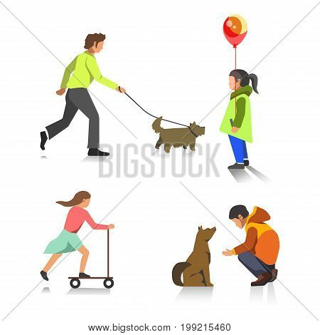 People in outdoor activity. Girl skating on kick scooter and holding balloons, boy walking or feeding dog pet. Vector flat isolated icons set