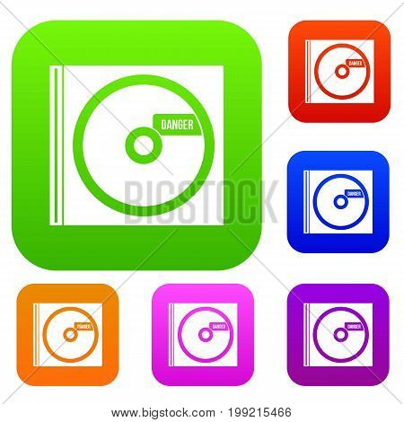 CD with danger lettering set icon in different colors isolated vector illustration. Premium collection