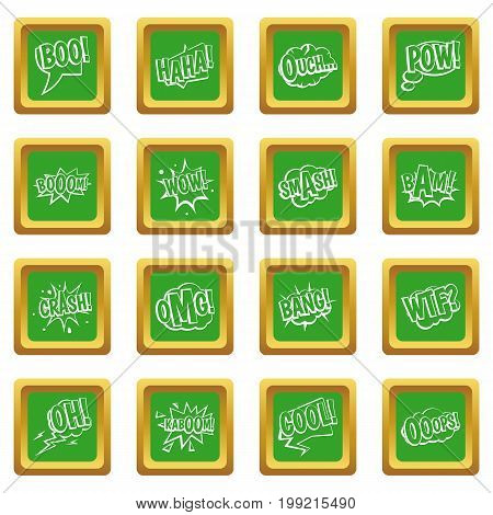 Comic colored sound icons set in green color isolated vector illustration for web and any design