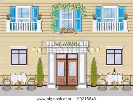 Elite vintage restaurant facade with tables and chairs, windows with flowers. Cute green European street. Vector illustration.