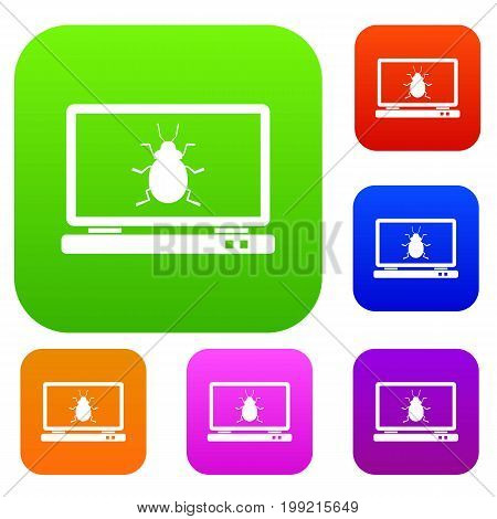 Laptop set icon in different colors isolated vector illustration. Premium collection