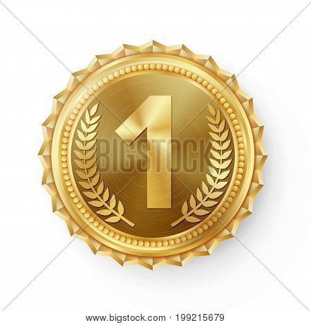 Gold Medal Vector. Best First Placement. Winner, Champion, Number One. 1st Place Achievement. Metallic Winner Award. Red Ribbon. Isolated On White Background. Realistic illustration.