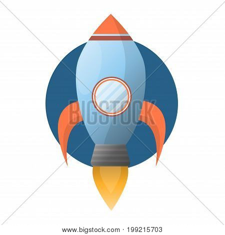 Spacious blue space rocket with round porthole, wings, fire turbine and circle behind isolated vector illustration on white background. Big spaceship transport that flies into space for exploration.