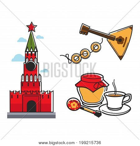 Russia or Soviet Union nostalgia symbols of travel or tourist attraction. Vector icons of Russian Moscow Kremlin with star, balalaika musical instrument and traditional tea cup with jam or honey