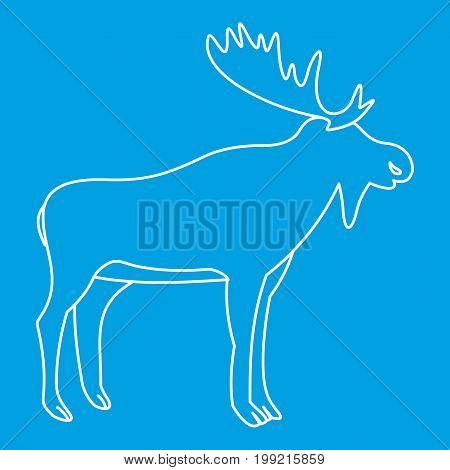 Moose icon blue outline style isolated vector illustration. Thin line sign