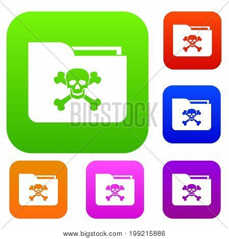 File folder with a skull set icon in different colors isolated vector illustration. Premium collection