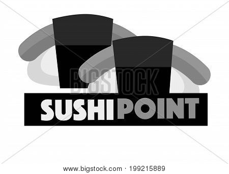 Sushi point menu logo design vector illustration isolated on white. Two nigiri-sushi with salmon, advertising sticker with text inscription in flat design. Logotype for eastern food promotion