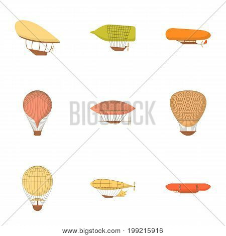 Air vehicle icons set. Cartoon set of 9 air vehicle vector icons for web isolated on white background