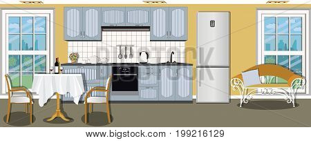 Modern cozy spacious kitchen interior design with stove, cupboard, dishes and fridge. Dining room with table, chairs, sofa and window.  Flat style vector illustration.