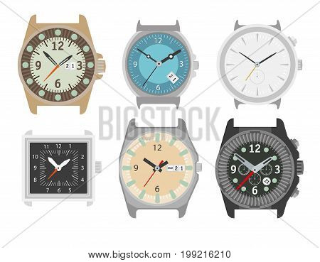 Watches set. Stylish accessory for men. Wristwatch collection. time symbol. Different watch on white background. Flat style illustration.