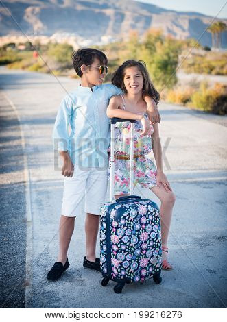 boy met a girlfriend, girlfriend with a suitcase