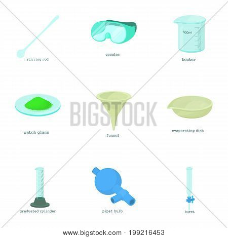 Chemistry education icons set. Cartoon set of 9 chemistry education vector icons for web isolated on white background