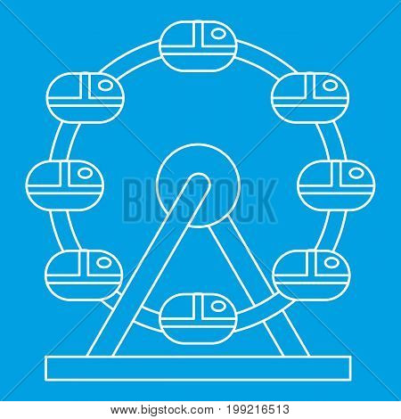 Ferris wheel icon blue outline style isolated vector illustration. Thin line sign