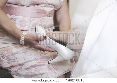 A Bride's dressing moment for a wedding