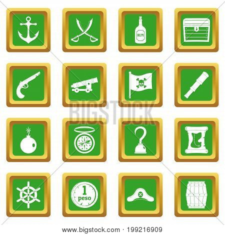 Pirate icons set in green color isolated vector illustration for web and any design
