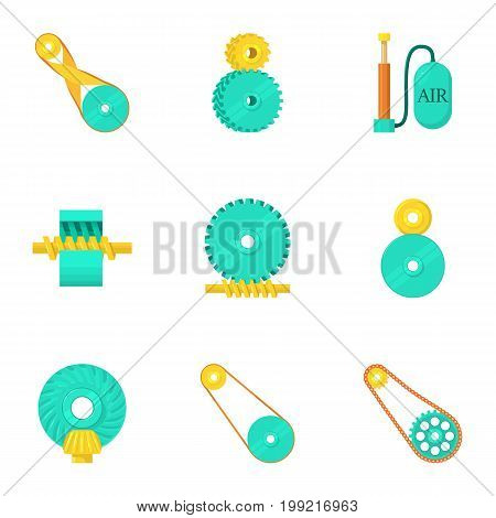 Engine parts icons set. Cartoon set of 9 engine parts vector icons for web isolated on white background