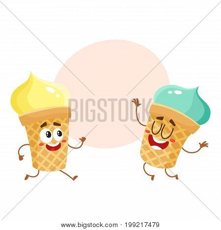 Two funny ice cream cup characters - strawberry and vanilla, cartoon style vector illustration with space for text. Couple of cute smiling strawberry and pistachio ice cream cone characters