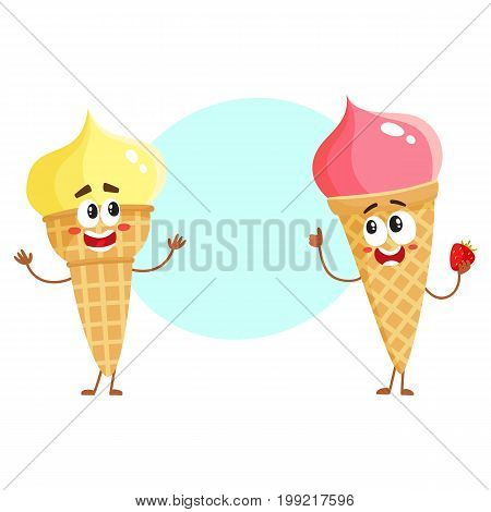 Two funny ice cream cone characters - strawberry and vanilla, cartoon style vector illustration with space for text. Couple of cute smiling strawberry and pistachio ice cream cone characters