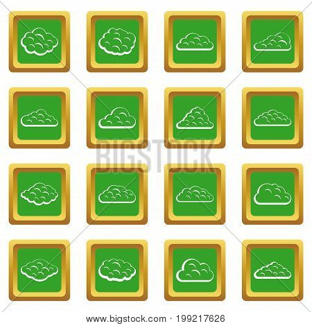Clouds icons set in green color isolated vector illustration for web and any design