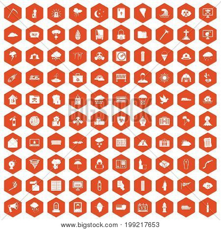 100 natural disasters icons set in orange hexagon isolated vector illustration