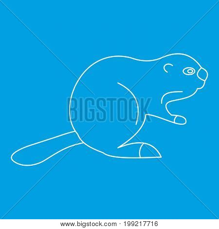 Beaver icon blue outline style isolated vector illustration. Thin line sign