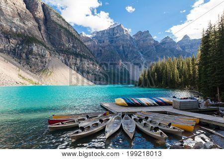 canoas at moraine lake banff national park alberta canada british columbia