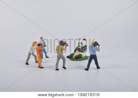 Plastic Toy Figurines. The Tv Camera And Operator