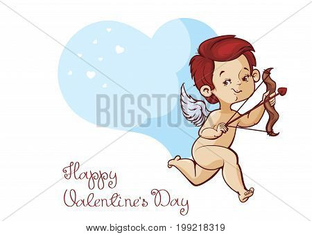 Character design of cupid with bow and arrow archering flying heart. Lineart and coloring drawing. With Valentine s day greeting fun message. Handwritten letteriing. No fonts were used.