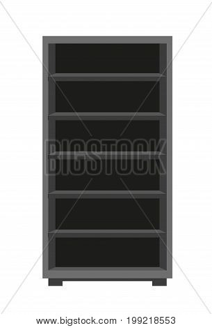 Vector illustration of dark closet with shelves isolated on white.