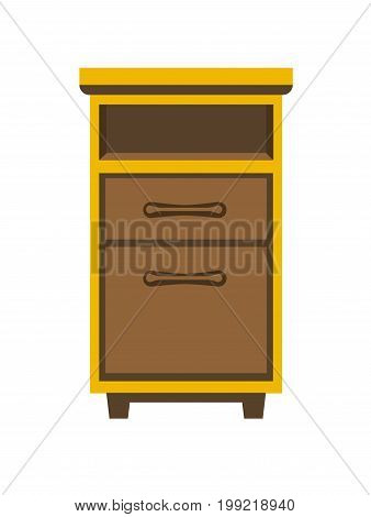 Vector illustration of yellow colored wooden bedside chest isolated on white.