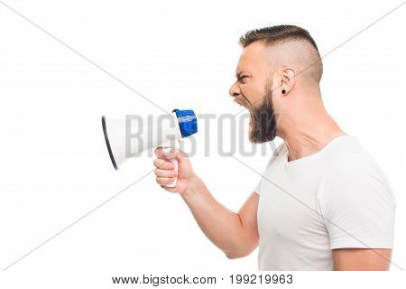 'portrait Og Young Aggressive Man Using Megaphone, Isolated On White