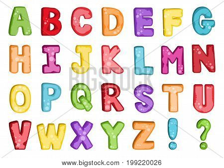 Vector of stylized colorful font and alphabet. Colorful alphabet ABC alphabetic writing creative collection primer literature. Style funny typography sign