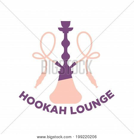 Vector illustration of purple and pink colored hookah lounge emplem isolated on white.