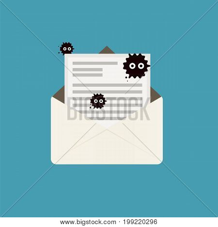 Virus hidden on email when open icon vector illustration.Virus spread itself by sending an infected document with email