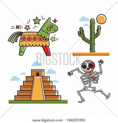 Vector illustration of pinata, cactus, temple and Santa Muerte skeleton.