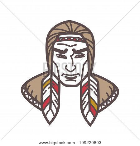 Vector illustration of Indian tribe man with feathers in hair isolated on white.