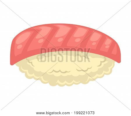 Vector illustration of tasty sushi with red fish isolated on white.