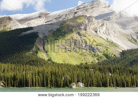 mountains maligne lake glacier view  banff  national park west canada british columbia
