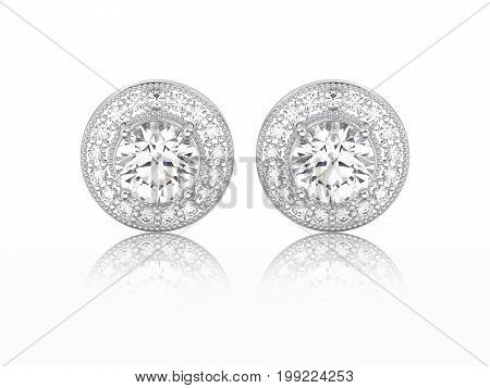 3D illustration two white gold or silver diamonds screw post sterling stud earrings with reflection on a white background
