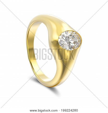 3D illustration isolated yellow gold diamond ring with shadow on a white background