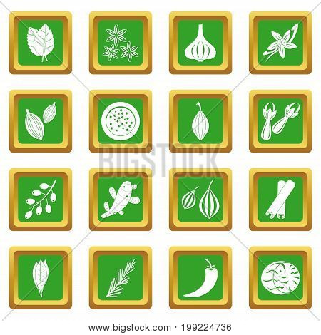 Spice icons set in green color isolated vector illustration for web and any design