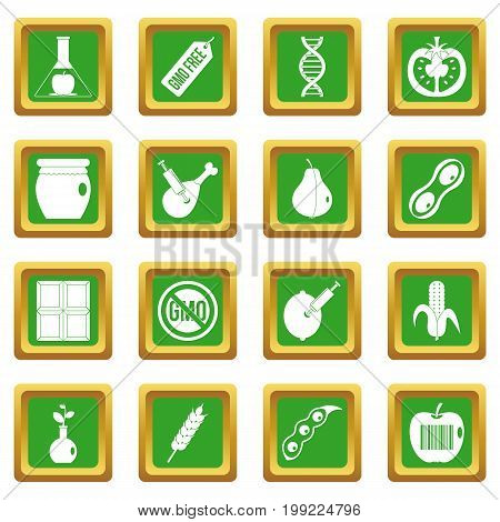 GMO icons set in green color isolated vector illustration for web and any design
