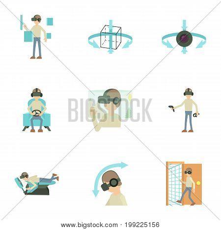 Virtual reality interface icons set. Cartoon set of 9 virtual reality interface vector icons for web isolated on white background