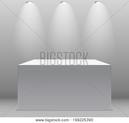 Exhibition Concept, White Empty Box, Stand with Illumination on Gray Background. Template for Your Content. 3d Vector Illustration EPS10